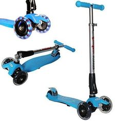 Kick Scooter with LED Light up Wheels Childrens Scooter Scate Scooter - Blue  #KickScooterwithLEDLightupWheels