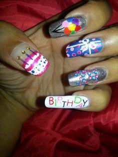 Birthday nails Birthday Nail Designs, Birthday Nails, Fun Nails, Porn, Hair Beauty, Nail Art, Passion, Clothes, Beautiful