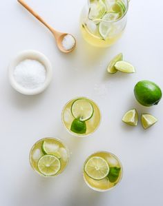 ginger beergaritas I for a pitcher, serves about 4 2 cups ginger beer 1 cup lime juice 1/3 cup tequila 1/4 cup grand marnier 1/4 cup ginger simple syrp  ginger syrup 1/2 cup water 1/2 cup granulated sugar 1 thumb-sized piece of fresh ginger