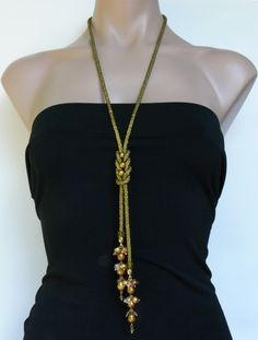 Beaded gold kumihimo necklace seed beads jewelry by 7PMboutique, $120.00