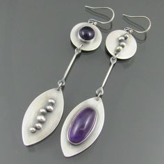 amethyst sterling silver earrings amethyst by NRjewellerydesign