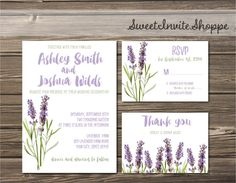 Lavender Wedding Invitation Botanical Invitation Boho Herbal