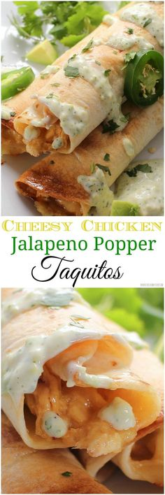 Cheesy Chicken Jalapeno Popper Taquitos - All the flavors of a cheesy jalapeno popper mixed with chicken and rolled up into crispy baked taquitos... and the filling is cooked in the slow cooker!