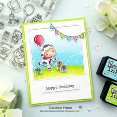 HAPPY BIRTHDAY TO MOO : using MFT stamps Party Animals and Distress Inks