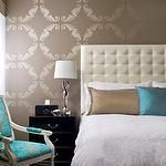 bedrooms - taupe metallic wallpaper tufted headboard turquoise blue silk damask chair black nightstand taupe brown gray turquoise blue bedroom