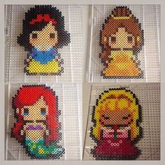 Disney Princess perler beads by herrerablur_ (Original designs by… Hama Beads Design, Diy Perler Beads, Perler Bead Art, Pearler Beads, Fuse Beads, Pearler Bead Patterns, Perler Patterns, Perler Bead Disney, Motifs Perler