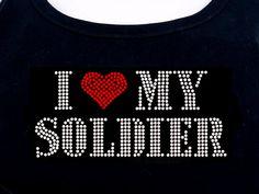 I Love My Soldier RHIINESTONE Heart Army Navy by RhineDesigns, $19.95