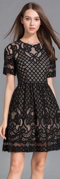 Black Crew Neck Hollow Lace Dress