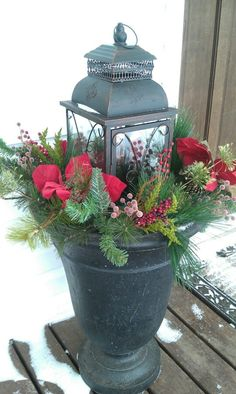 """Decorating Front Porch Urns For Christmas Extraordinary Evergreen""""  Sugar Magnolia  Pinterest  Evergreen Urn And Design Inspiration"""