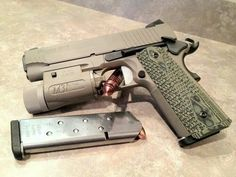 "The Sig Sauer Carry Scorpion in .45 ACP.... I've always wanted a 4 inch barreled version, even if it was in the ""Desert Mucus"" finish. LMFAO Sig 1911, 1911 Pistol, Colt 1911, Weapons Guns, Guns And Ammo, Survival, Rifles, Sig Sauer, Cool Guns"