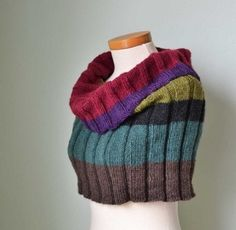 Ribbed Knitted Cowl Capelet by BernioliesDesigns - great colors Knit Cowl, Knitted Shawls, Caron Yarn, Knit Wrap, Knit Or Crochet, Knitting Projects, Arm Warmers, Hand Knitting, Knitting Patterns