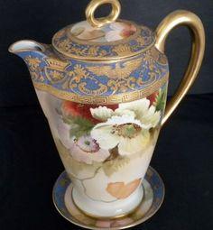 bohemian teapots | Vtg Antique Morimura Noritake Floral Gold Gilt Tea Pot & Saucer Nippon ...