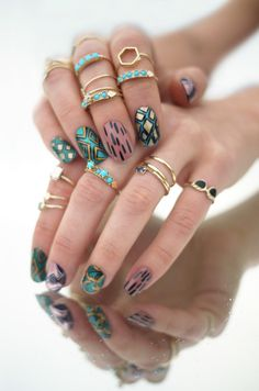 gold & turquoise rings + nail art