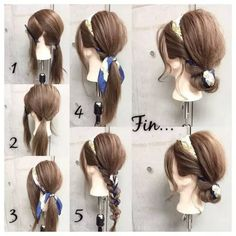 Hair scarf band - New pins Work Hairstyles, Headband Hairstyles, Scarf Hairstyles Short, Medium Hair Styles, Curly Hair Styles, Hair Scarf Styles, Hair With Scarf, Belle Hairstyle, Hair Arrange