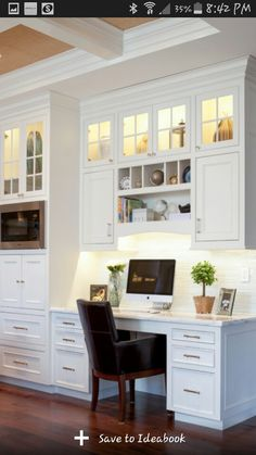 Trendy home office nook filing cabinets 49 ideas Kitchen Office Nook, Kitchen Desk Areas, Kitchen Desks, New Kitchen, Kitchen Cabinets, Kitchen Shelves, Glass Cabinets, Kitchen Work Station, Open Shelves