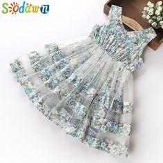 cd8cecc95 Buy Sodawn 2018 Summer Party Dresses For Girls Wedding Dresses Floral Print Kids  Dresses Summer Sundress Baby Girls Dress