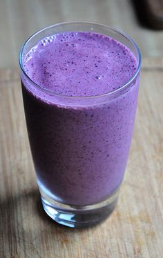 Blueberry & Peach Smoothie 1 cup frozen blueberries 1 cup frozen peaches 1 cup Greek yogurt 10 raw almonds Almond milk (1/4 cup + for desired consistency)