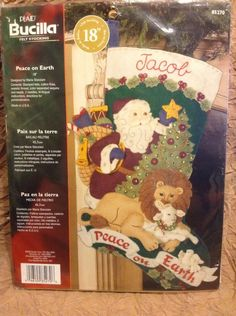 "Bucilla Peace On Earth Lion Lamb Santa Felt Christmas Stocking 18"" Kit Jeweled #Bucilla"