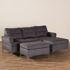 Riley Modern and Contemporary Fabric Upholstered 3 - Piece Sectional Sofa with Ottoman Set - Gray - Baxton Studio - image 4 of 5 3 Piece Sectional Sofa, 3 Piece Sofa, Leather Sectional Sofas, Sofa Set, Leather Sofa, Ottoman In Living Room, Living Room Sets, Living Room Designs, Sofa Furniture