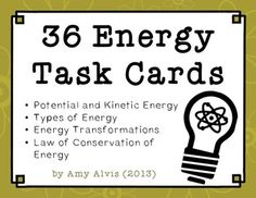 This is a companion piece to my popular Energy Posters. You can use this set two different ways, as a set of task cards for an individual or small group or as a SCOOT activity for the whole class. Science Resources, Science Lessons, Science Activities, Science Ideas, Energy Resources, Science Classroom, Teaching Science, Science Education, Classroom Ideas