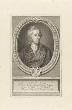Bernard Picart | Portret van John Locke, Bernard Picart, 1721 | Portret van de Britse filosoof John Locke, diens wapenschild op de omlijsting. Op de piëdestal een vierregelig lofdicht in het Frans.