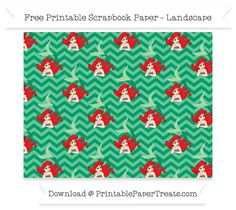 FreeShamrock Green Chevron Large Ariel Pattern Paper - The Little Mermaid