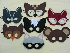 Woodland Masks  Pack. $56.00, via Etsy. This totally makes me want to do the woodland theme for B's next bday!