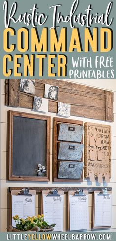 How to design a rustic farmhouse style command center for your small home office or entryway. Create a drop zone to keep your home organized. Home decor woodworking project.