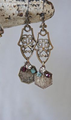Vintage assemblage earrings religious medals gemstones rhinestones vintage brass findings assemblage jewelry- by French Feather Designs....