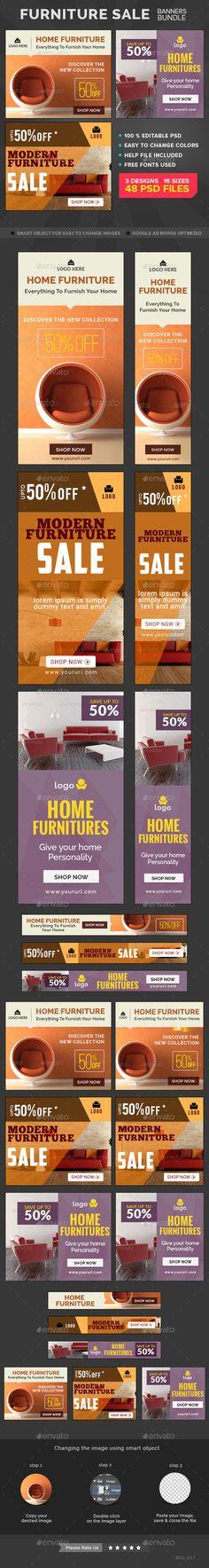 Furniture Sale Banners Bundle - 3 Sets #design Download: http://graphicriver.net/item/furniture-sale-banners-bundle-3-sets/11546086?ref=ksioks