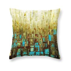 Mid Century Modern Art Accent Throw Pillow Cover Abstract Blue Brown... ($42) ❤ liked on Polyvore featuring home, home decor, throw pillows, decorative pillows, grey, home & living, home décor, blue gray throw pillows, blue toss pillows and brown accent pillows