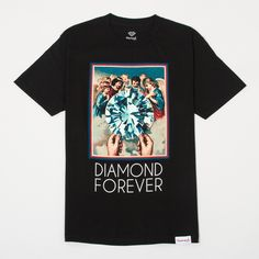 Diamond Supply Co 'Diamond Forever' Tee - Black Bottom left woven label. Printed neck label. 100% cotton. Printed in the USA.