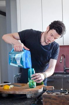 Chef Sam Talbot's simple, great-tasting recipe for a refreshing beverage:  1. Slice cucumber  2. Cut lemon into wedges 3. Add to water 4. Chill for about 10 minutes 5. Drink your refreshing and hydrating concoction!
