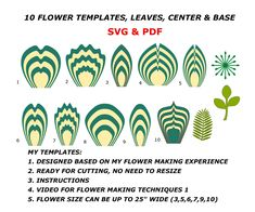 Paper flower template Bundle Svg printable Pdf to make giant paper flowers at saving cost. Instructions and Video tutorials are included. Large Paper Flower Template, Flower Petal Template, Large Paper Flowers, Leaf Template, Giant Paper Flowers, Big Flowers, Paper Roses, Templates, Flower Stamen