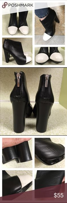 """Victoria's Secret Black Boots White Cap Toe 9.5-10 Marked size 10 fit like a 9.5. That's my 9.5 foot in boot. Boots are leather. Worn once. Have some marks on the platform around toe. See pictures. Indents in the shiny patent leather.  4.5 inch heel. 1/2"""" platform. No box. Victoria's Secret Shoes Ankle Boots & Booties"""
