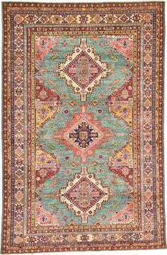 Blue 5' 9 x 8' 8 Geometric Kazak Rug | Oriental Rugs | eSaleRugs