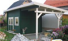 Flat roof 58mm log cabin