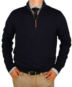 Look Stylish! Available Colors: Black, Charcoal, Navy, Chocolate Luciano Natazzi Classic Fit Quarter Zip Mock Neck Sweater Cotton Cashmere Touch Navy
