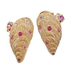Shell Design Pink Sapphire and Diamond Earrings