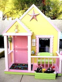 Compact, Tidy Outdoor Playhouses | KidSpace Stuff - some fun ideas on this site for play houses and playhouse accessories.