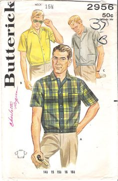 Vintage 1950s Men's Sport Shirt with Banded Wasit Sewing Pattern, Butterick 2956, offered by GrandmaMadeWithLove on Etsy