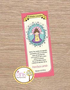 First Communion Favor Cards  Virgen Maria por PinkPaperStudioMiami