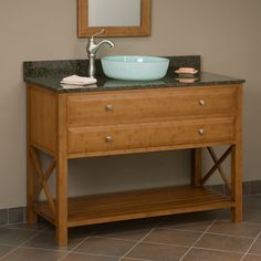 "48"" Clinton Bamboo Vanity Cabinet for Vessel Sink"