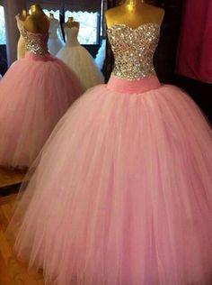 Long Prom Dress, Beaded Open Back Pink Prom Dress/ Ball Gown/ Evening Dress/ Formal Dress/ Wedding Dress Ball Gowns Evening, Formal Evening Dresses, Dress Formal, Quince Dresses, Ball Dresses, Dresses 2014, Quinceanera Dresses, Homecoming Dresses, Maxi Robes