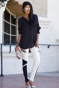 One of our favorite fall trends = colorblocked denim. Love the look on @Deanna Walker IN WONDERLAND