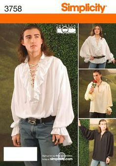 Womens, Men and Teens Costume Sewing Pattern 3758 Simplicity Dread Pirate Roberts Shirt