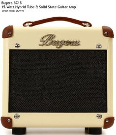 """Bugera BC15. Features: - 15W Hybrid Amp - 8"""" Speaker - Preamp Tube: 12AX7 - 2-band EQ - Inputs: 2 x 1/4"""" - Weight: 12.3 lbs. For a detailed guide to cheap guitar amps see https://www.gearank.com/guides/cheap-guitar-amps"""