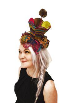 lampshade hat, fantasy flowers