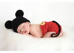 Mickey Mouse Inspired Hat and Diaper cover  by YarningToBe on Etsy, $40.00