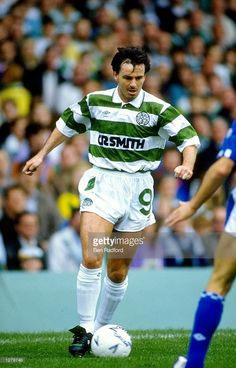 Charlie Nicholas of Celtic in action during a match against Everton at Celtic Park in Glasgow...